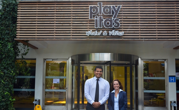 Frederick Sengewitz, Food and Beverage Manager at the Playitas Hotel (left) with Saray Hondarza, Secretary to the General Manager