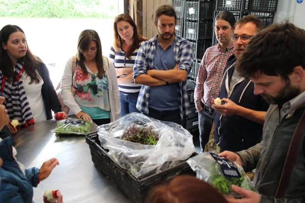 The team get a look at some of the packaged produce